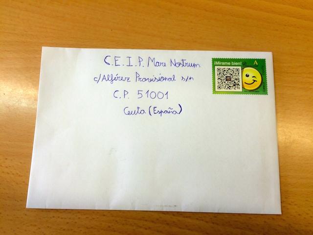 """Carta que hemos enviado al Colegio """"Mare Nostrum"""" de Ceuta."""